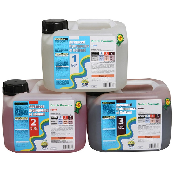 Kit Advanced Hydroponics Grow, Bloom, Micro 5 L